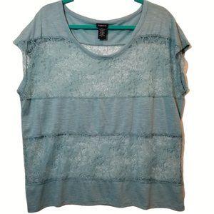 Torrid Cap Sleeve Top Crochet Panels - Plus Size 0